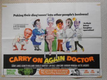 Carry on Again Doctor, Original UK Quad Poster, Sid James, Jim Dale, Kenneth Williams, '69